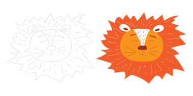 Cute icons of lion head outline. Savanna animal in doodle style isolated on white background. Stock illustration in flat style. Coloring book for adults and children.