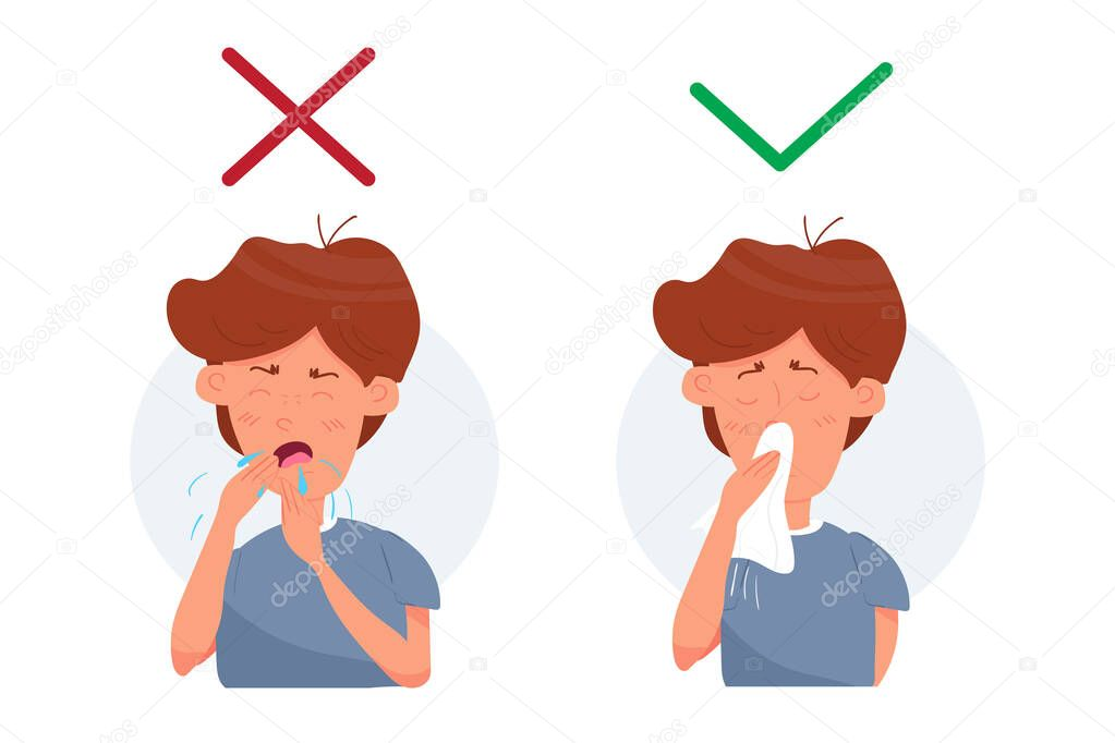 boy kid character coughing and sneezing healthcare recommendation how to sneeze cough properly prevention hygiene concept flat cartoon vector stock illustration isolated on white background premium vector in adobe illustrator ai cartoon vector stock illustration