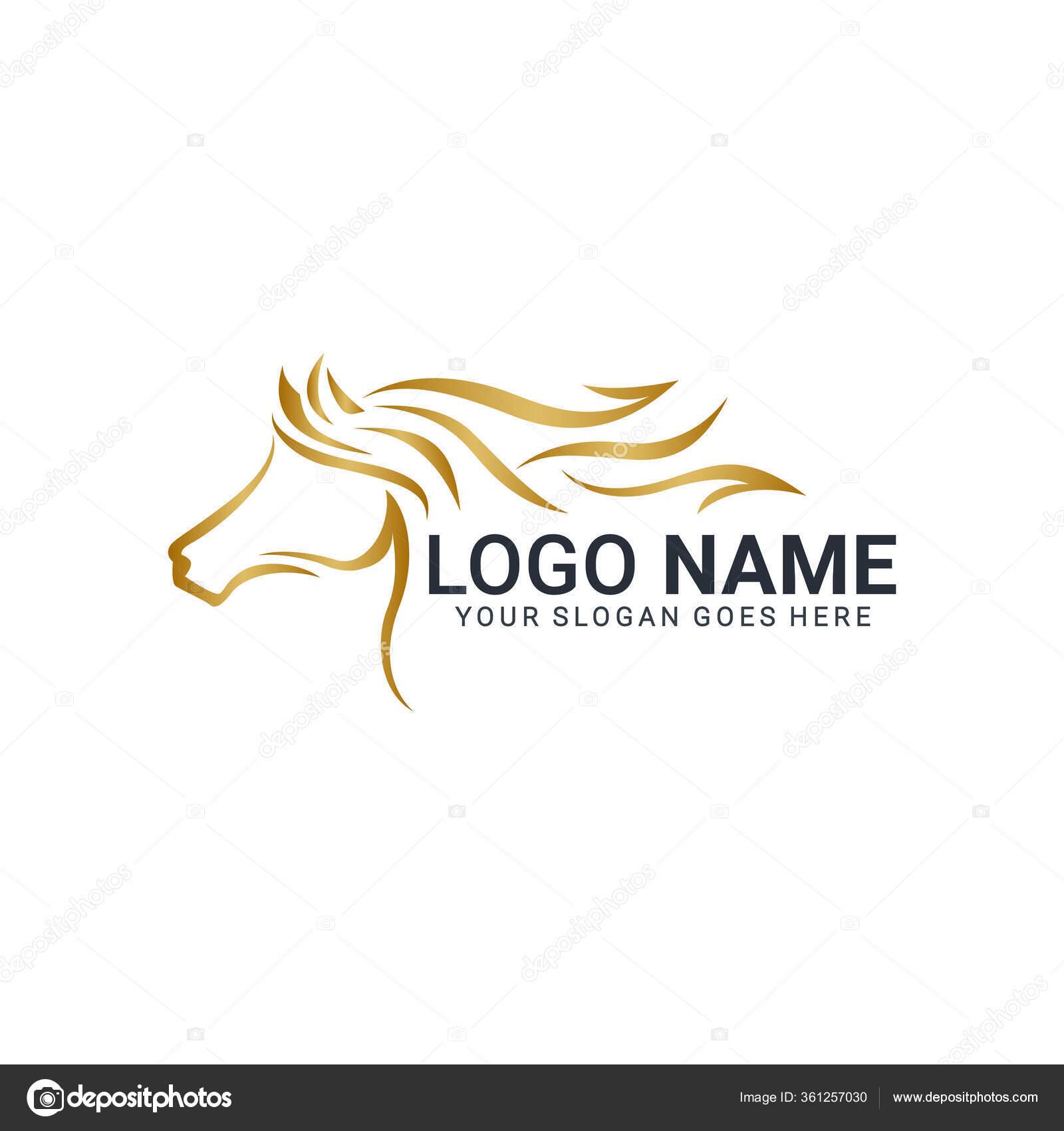 Modern Gold Abstract Horse Logo Design Animal Logo Design Editable Stock Vector C Nietz Studio 361257030