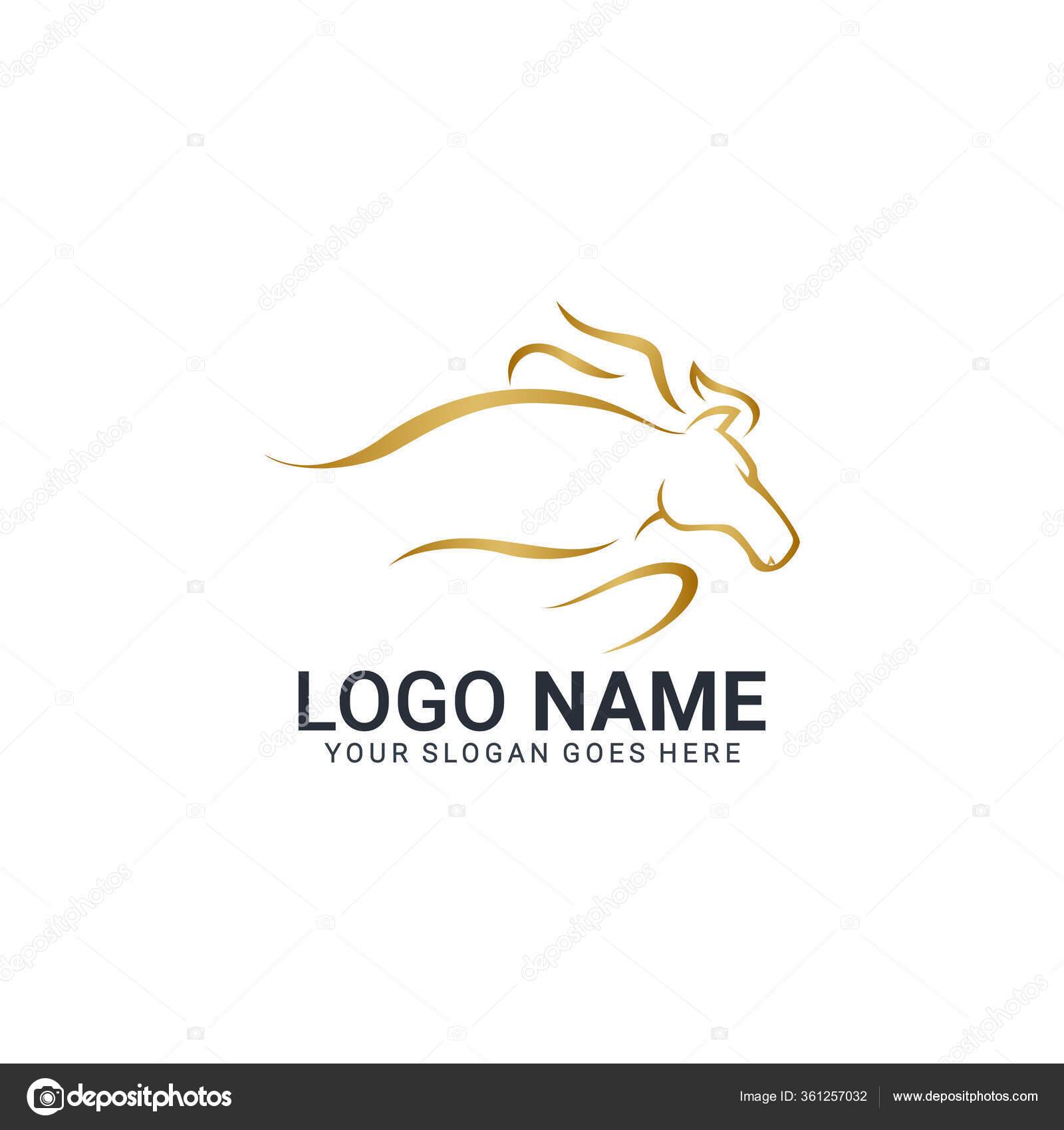 Modern Gold Abstract Horse Logo Design Animal Logo Design Editable Stock Vector C Nietz Studio 361257032