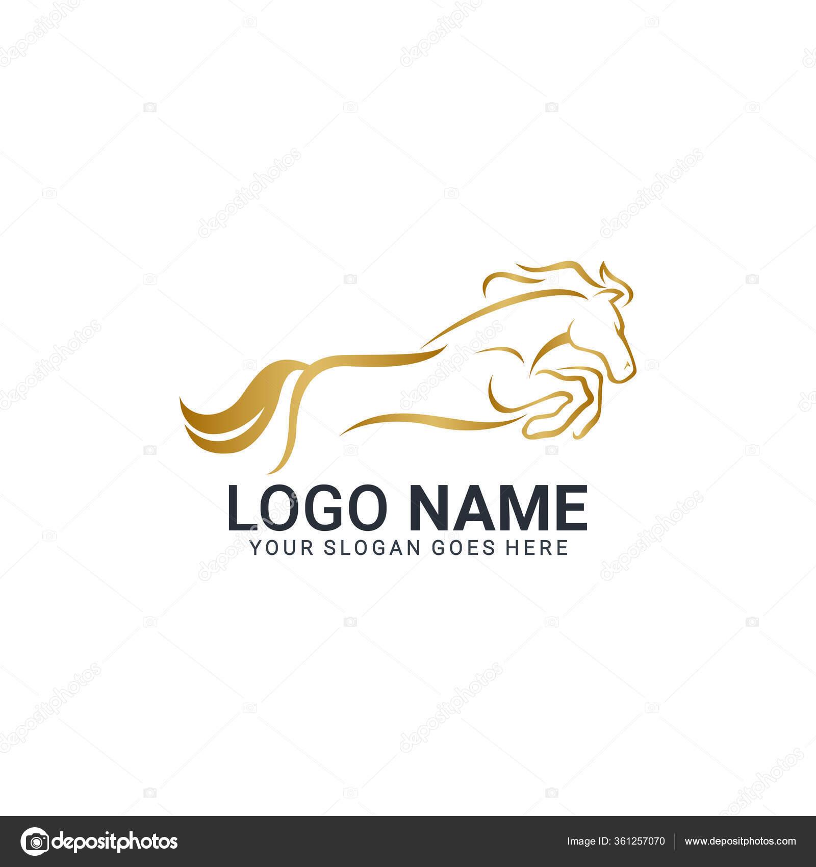 Modern Gold Abstract Horse Logo Design Animal Logo Design Editable Stock Vector C Nietz Studio 361257070