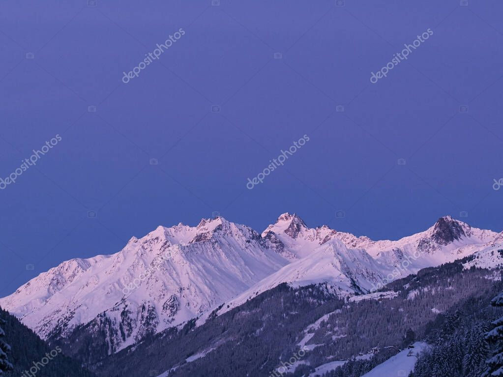 Winter morning in the alps