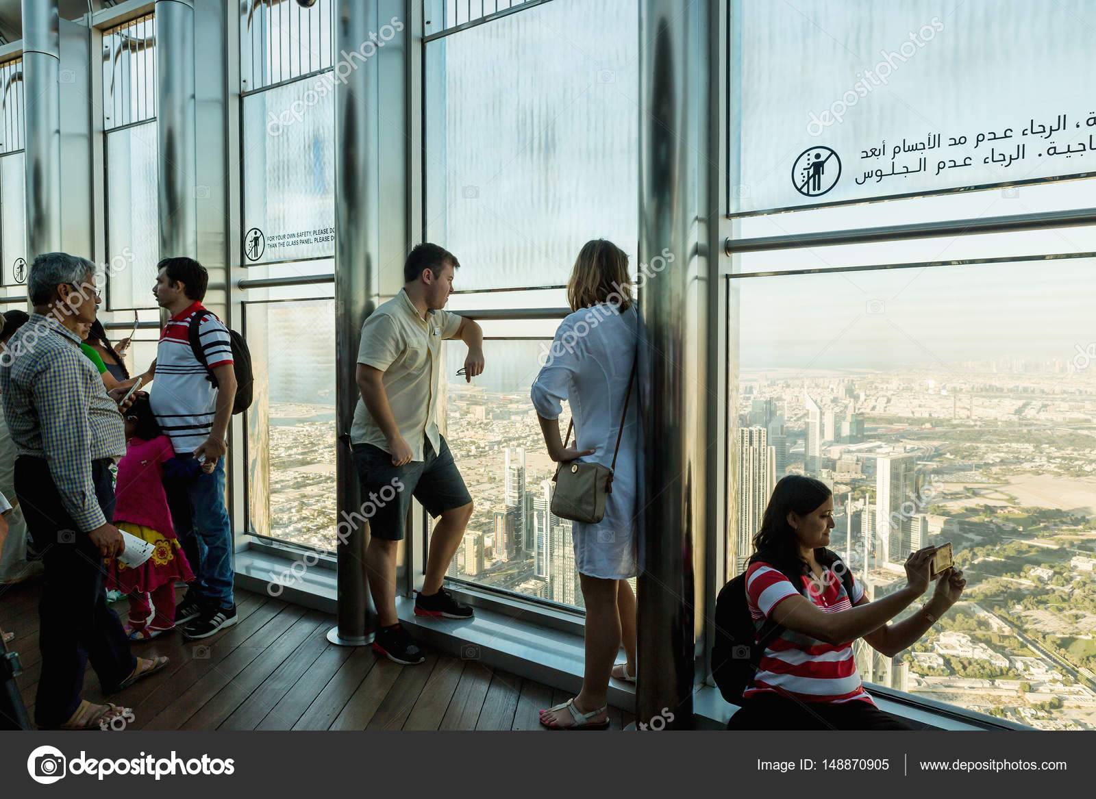 DUBAI, UAE - NOVEMBER 8, 2016: Tourists on Burj Khalifa