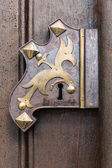 Photo Large wooden door with wrought-iron elements. Decorative door with fittings.