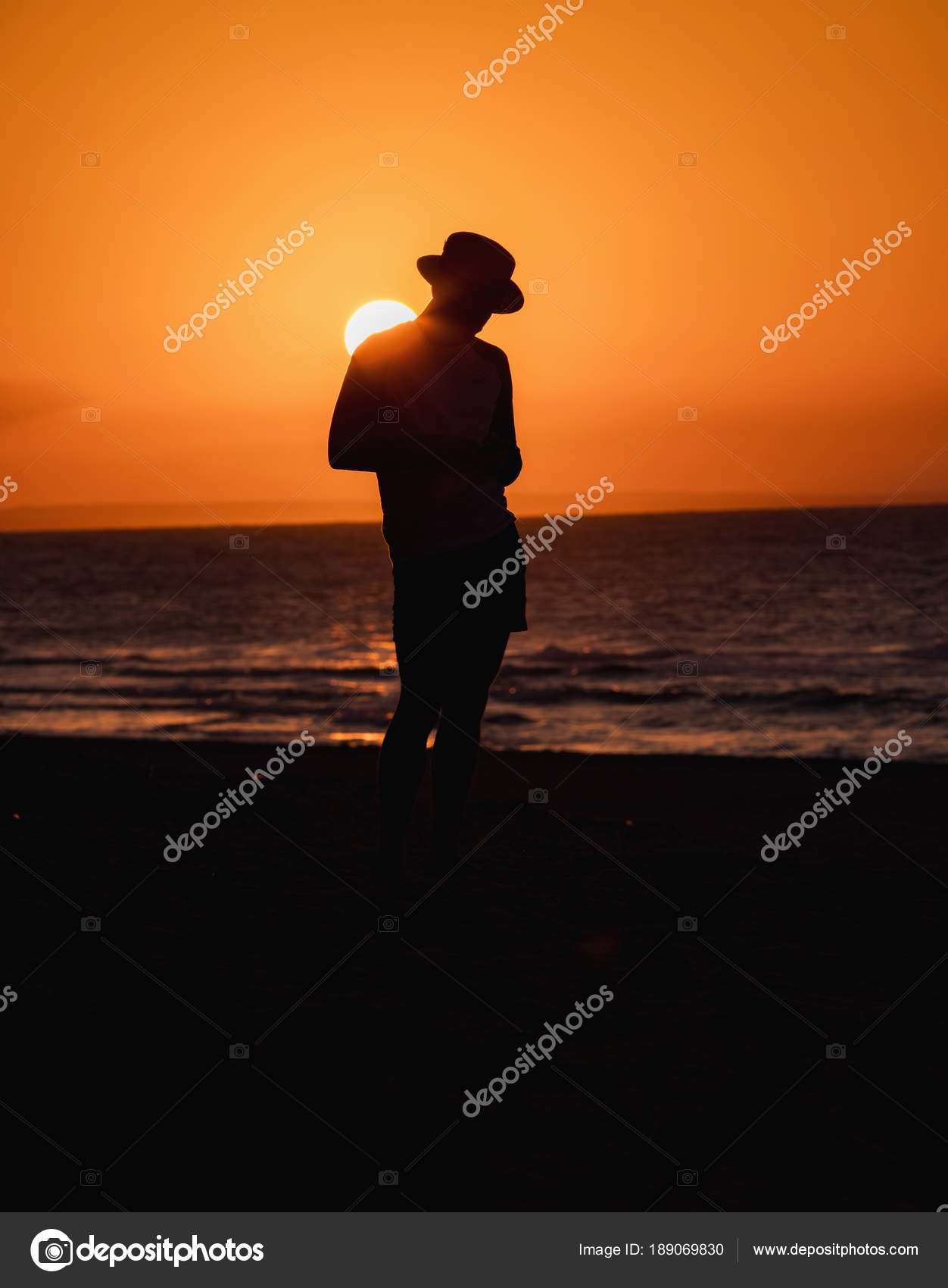 Silhouette Man In Hat Sunset Beach Varadero Cuba Stock Photo