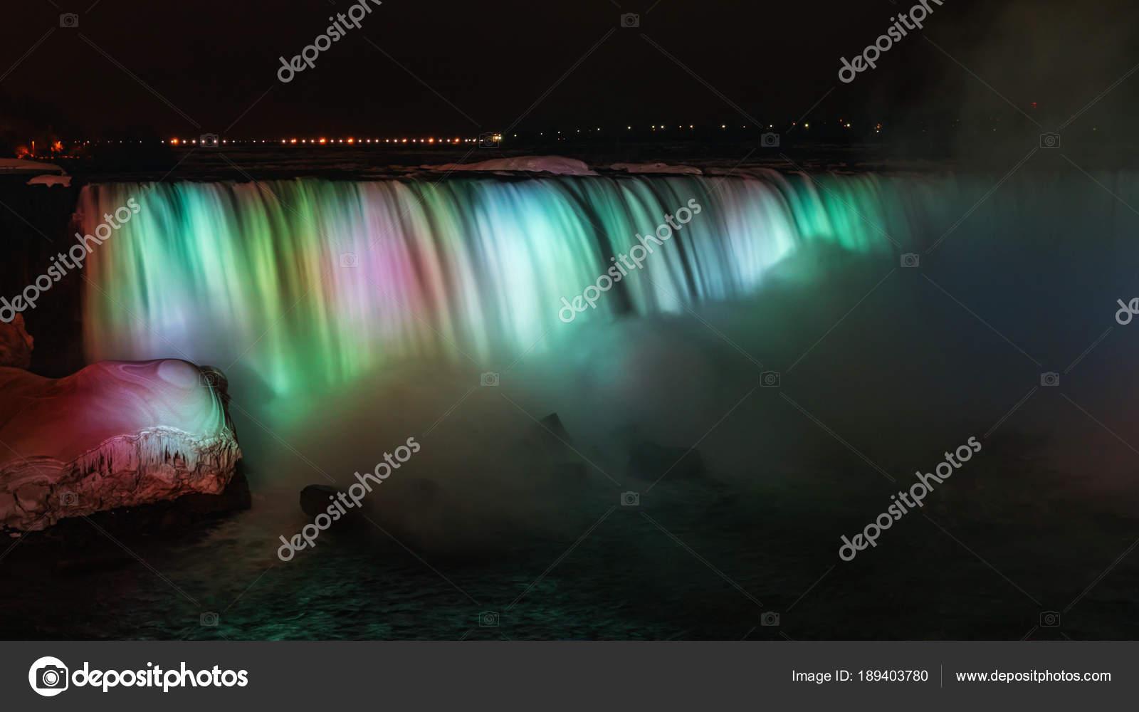 Niagara Falls At Night Colorful Lights Stock Photo