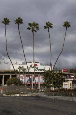 Rose Bowl in Pasadena, California during set-up preparations for the 2017 Rose Bowl Football Game