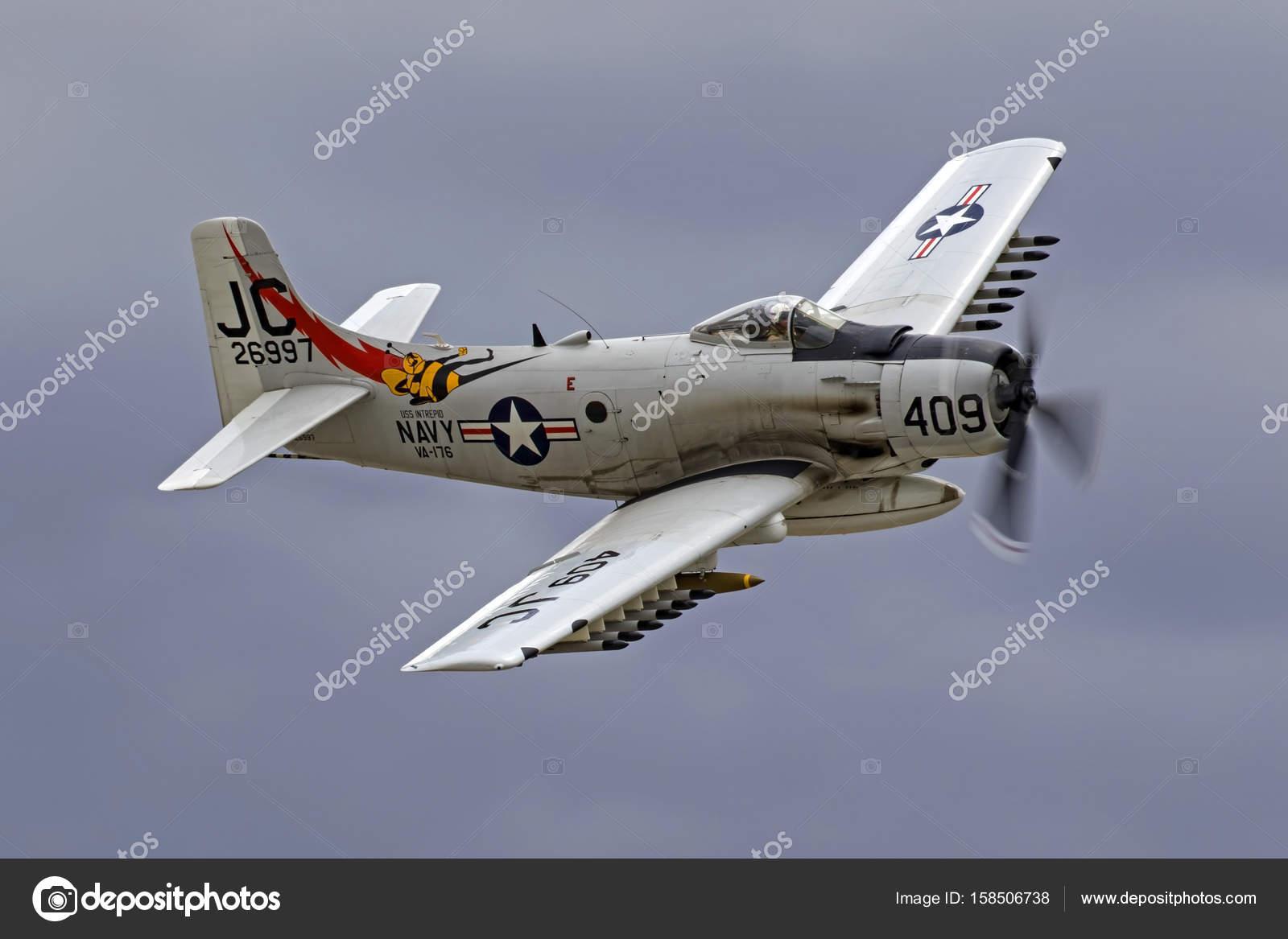 Airplane vintage A4- Skyraider Vietnam War era aircraft