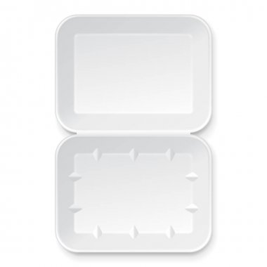 White Empty Blank Styrofoam Plastic Food Tray Container. Illustration Isolated On White Background. Mock Up Template Ready For Your Design. Vector EPS10 stock vector