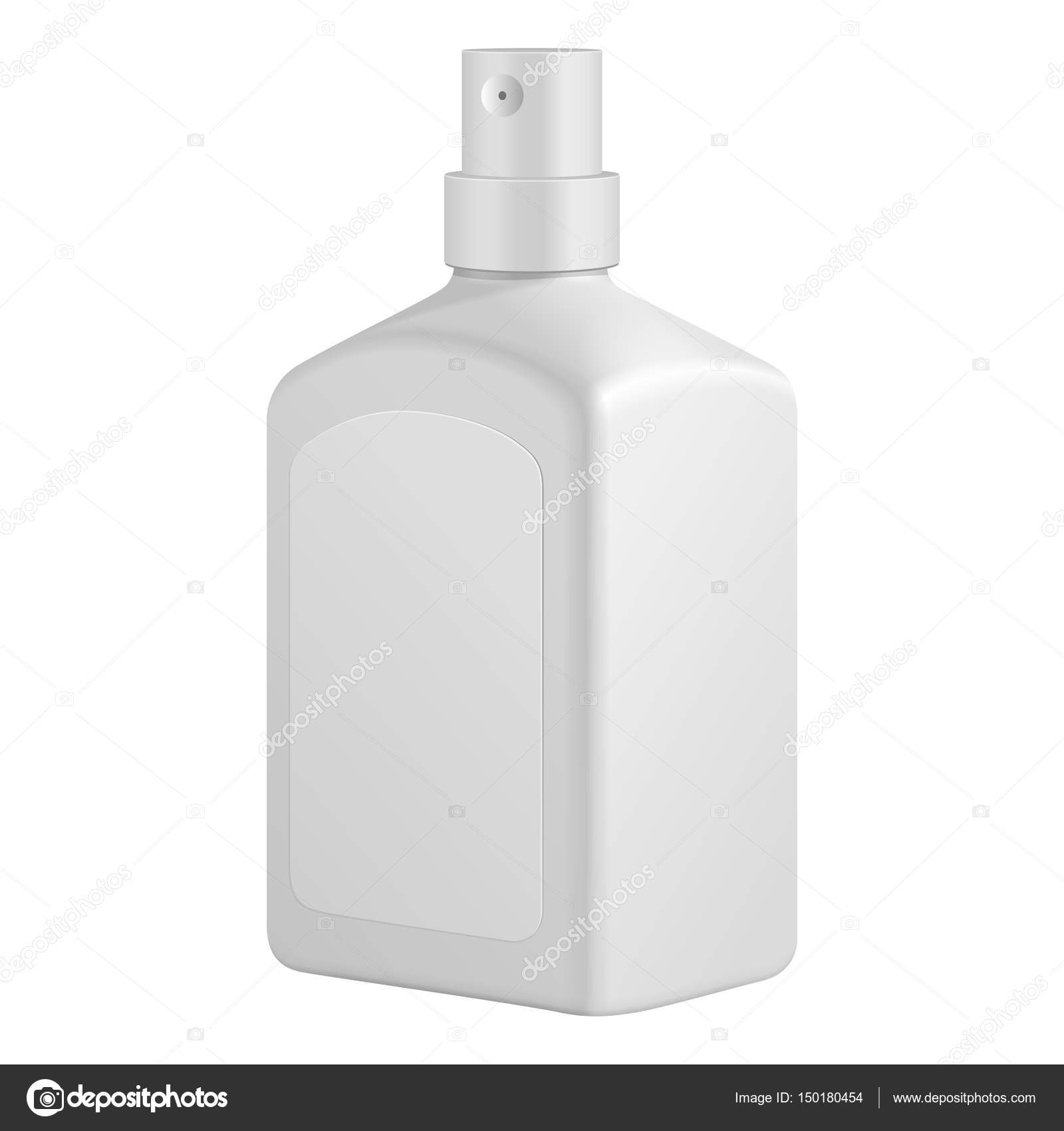square cosmetic or hygiene spray dispenser pump plastic bottle with