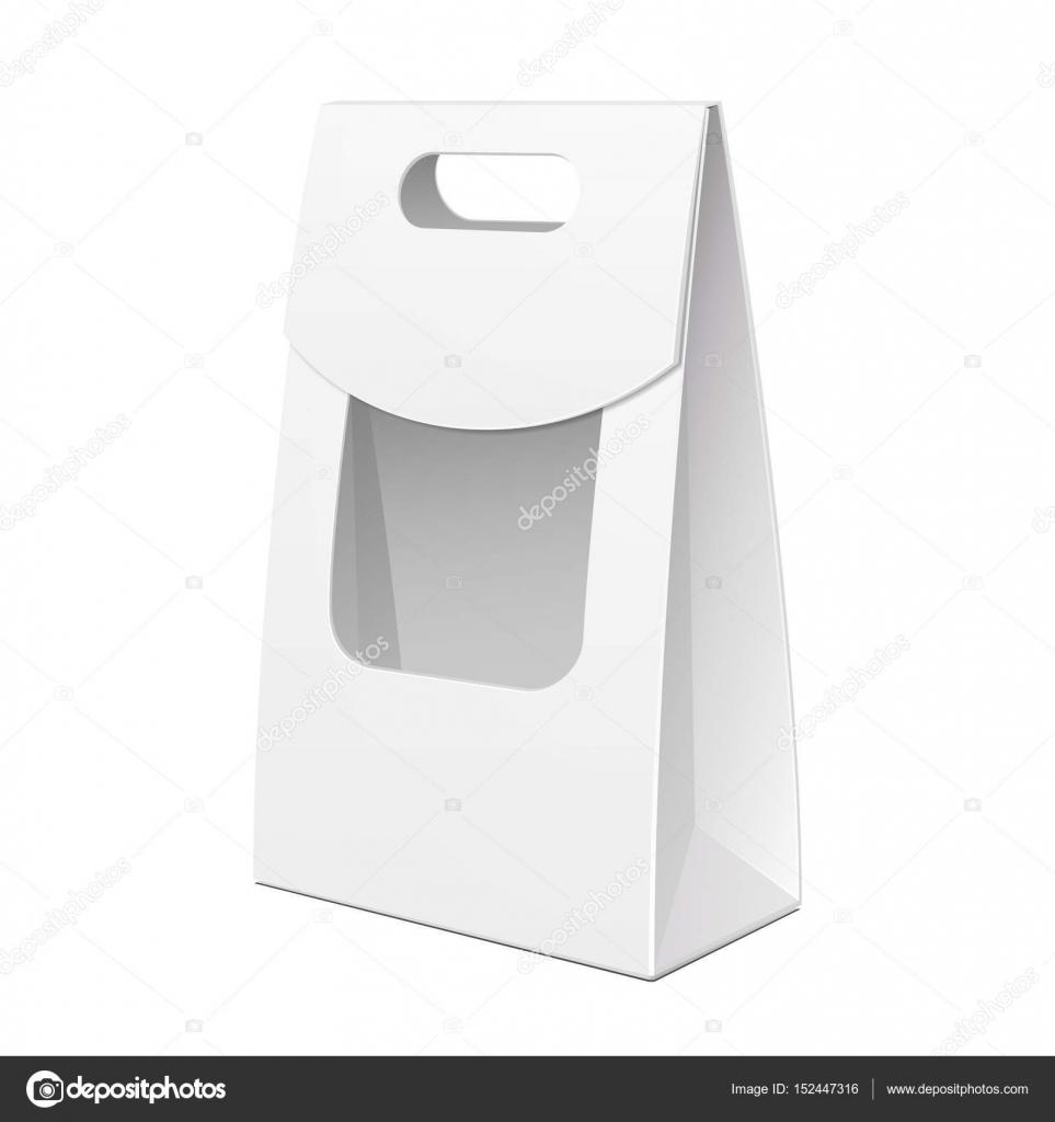 Blanco caja de cartón bolsa empaque con ventana y la manija para ...