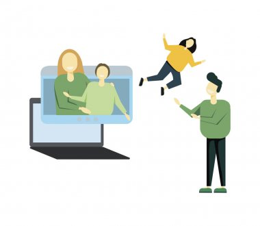 Relatives in self-isolation, quarantine spare time, covid pandemic icons. Online family party. Vector isolated concept metaphor illustrations icon