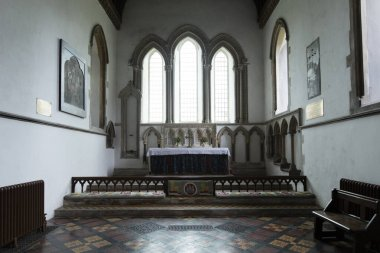 Interior detail of the Baptism Font of Saint Lawrence Church, Castle Rising, Norfolk, United Kingdom - 13th December 2015