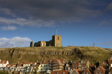 Whitby, North Yorkshire, UK, 22nd March 2019, View of the town and St Marys Church