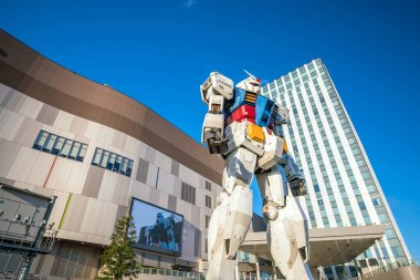 TOKYO,JAPAN - DEC 9 : Full-size Mobile suit Gundam at the main entrance of Diver City Tokyo Plaza - a Shopping mall in Odaiba area on December 9, 2016