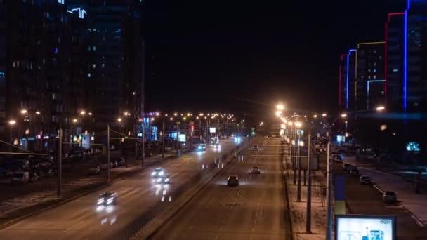 Timelapse of night city traffic