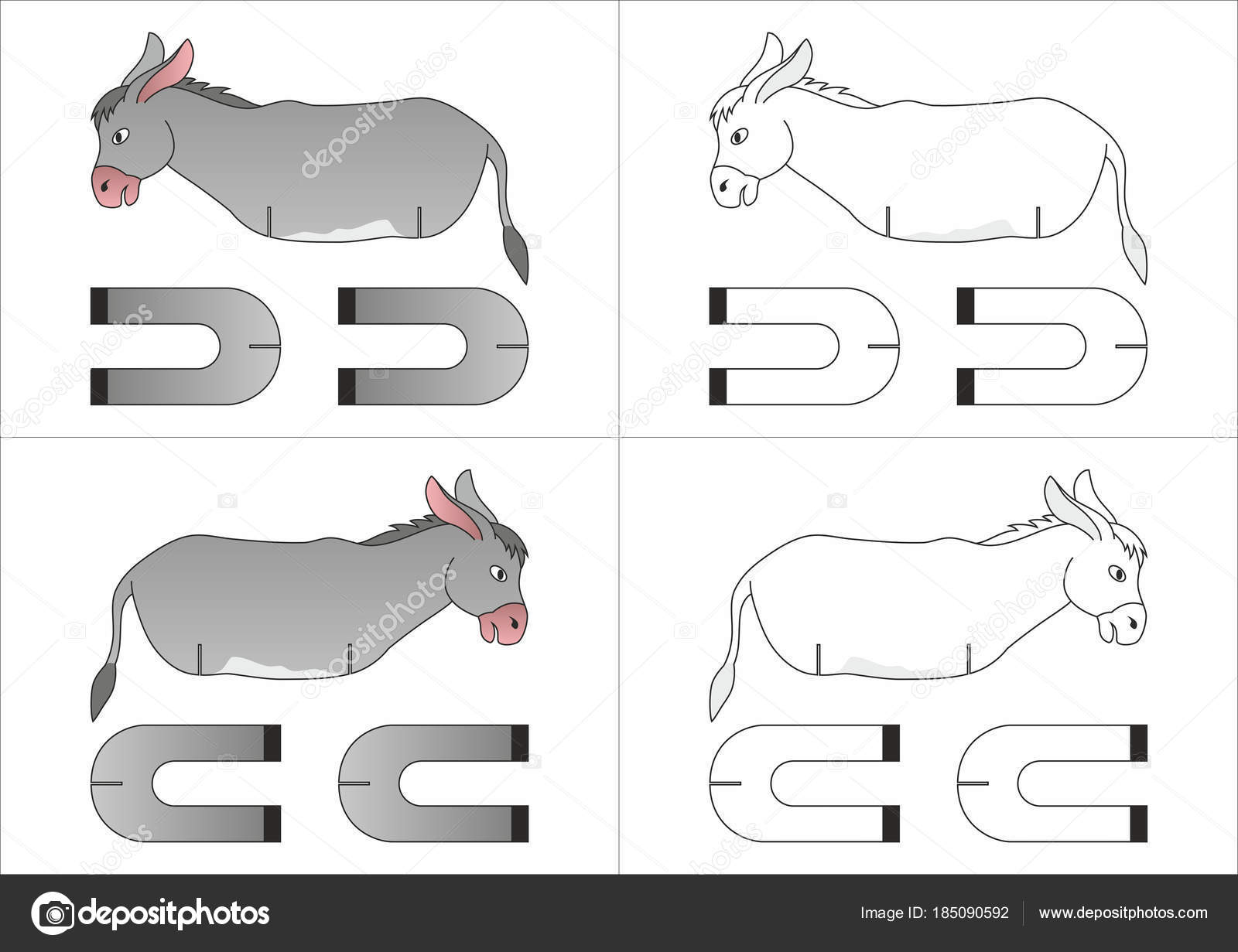 Template Toy Donkey Made Paper — Stock Vector © Alya_DC #185090592