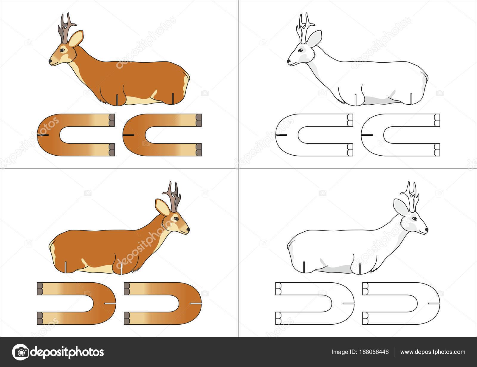 template toy roe deer made paper children stock vector alya dc