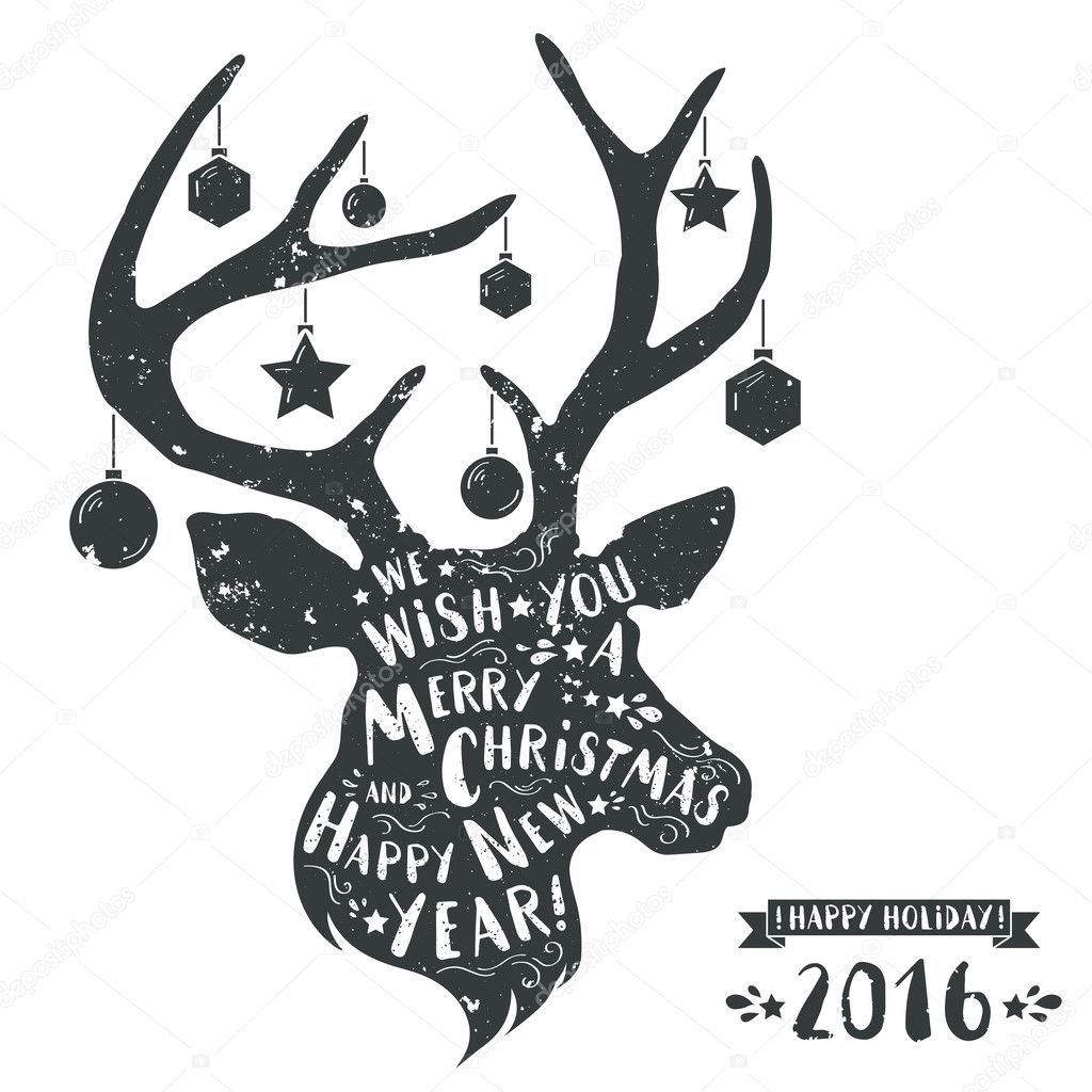 textured christmas deer head with text