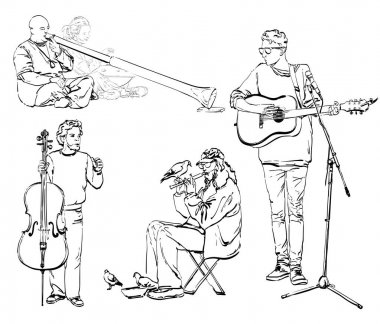 Set with street Musicians