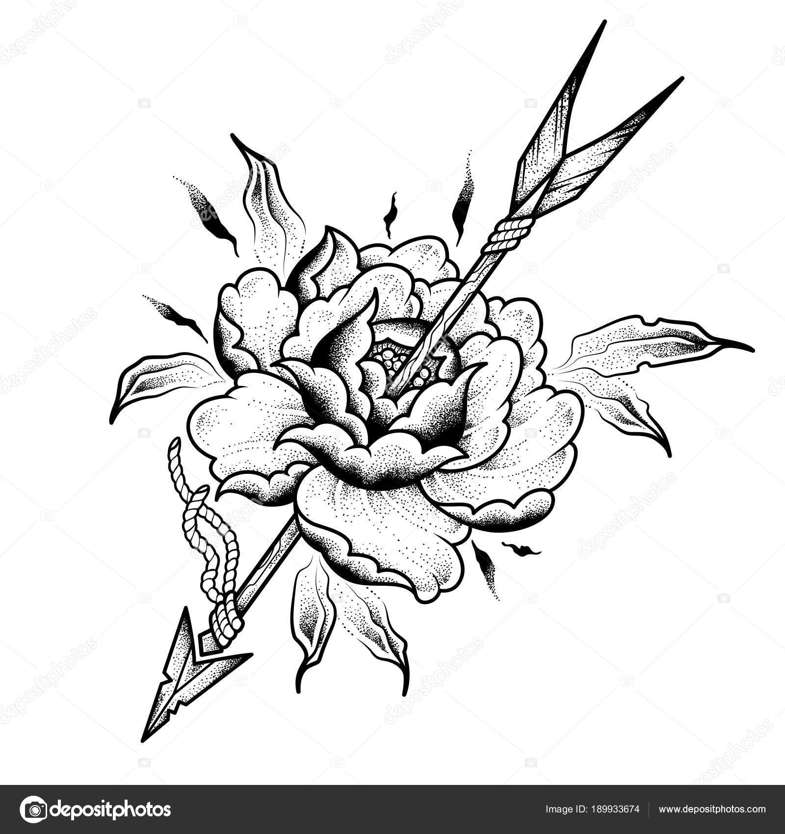 Flower Arrow Tattoo Design Vector Illustration Isolated White
