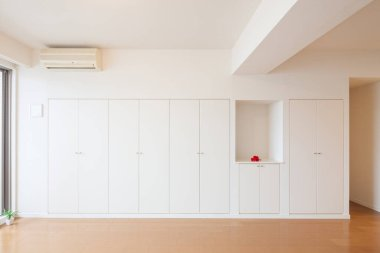 Storage space for clothes or luggage in the living room or bedroom