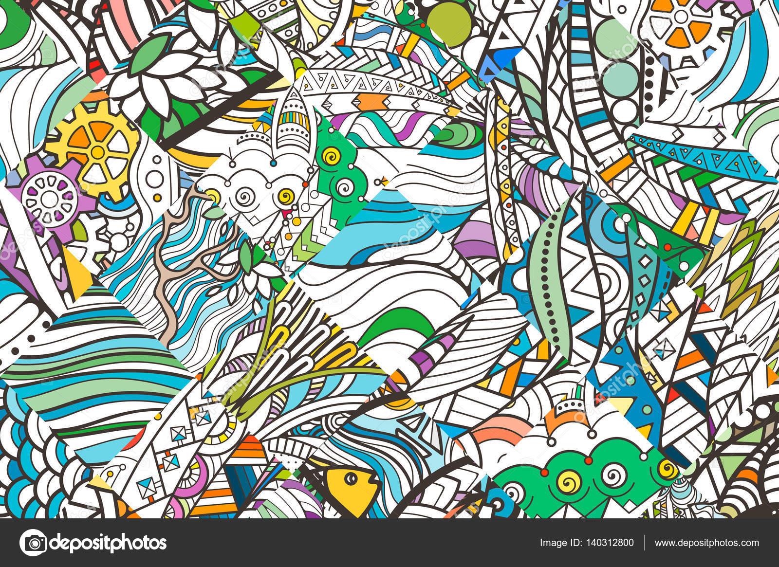 Patrón de fondo de doodle parcheado. Patrón de diseño recargado ...