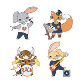 Sada čtyř dětí hudební znaků: tele, králíci a fox. Kytarista, klávesista, zpěvák a bubeník