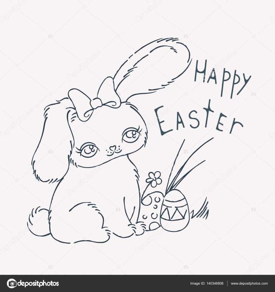 Lindo conejito de Pascua para la tarjeta de día de fiesta ...