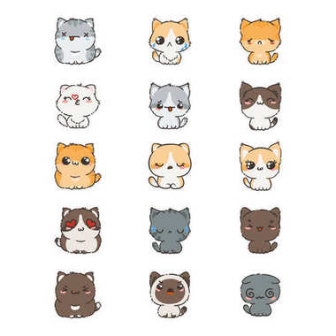 cats and dogs with different emotions.