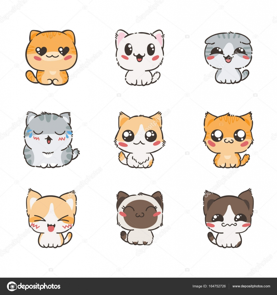 Dessin Anime Mignon Chats Et Chiens Avec Differentes Emotions