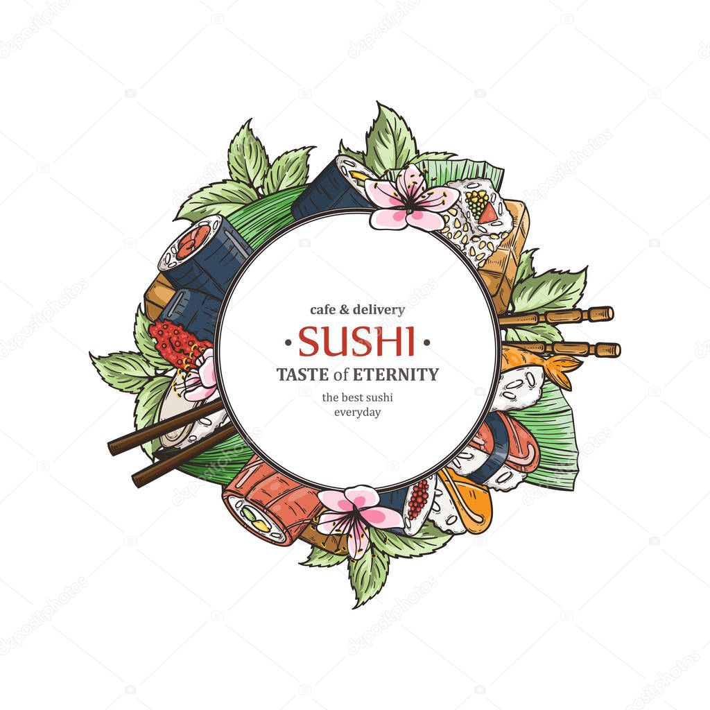 Doodle Sushi Restaurant And Delivery Design Template Asian Food Composition Vector Illustration Premium Vector In Adobe Illustrator Ai Ai Format Encapsulated Postscript Eps Eps Format