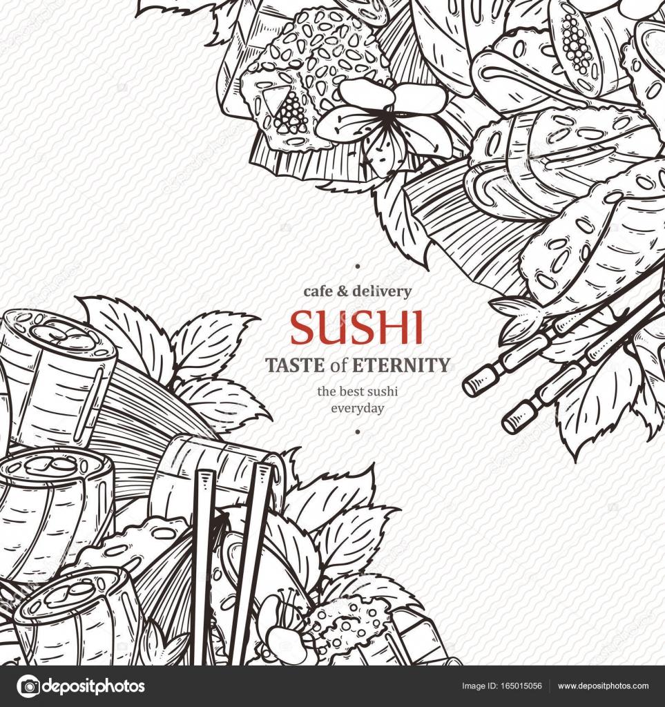 Plantilla de diseño de menú de restaurante de sushi de Doodle ...