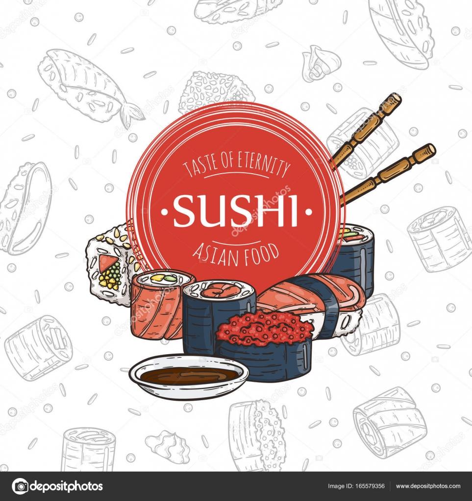 Doodle Sushi Restauracja I Dostawy Szablon Projektu