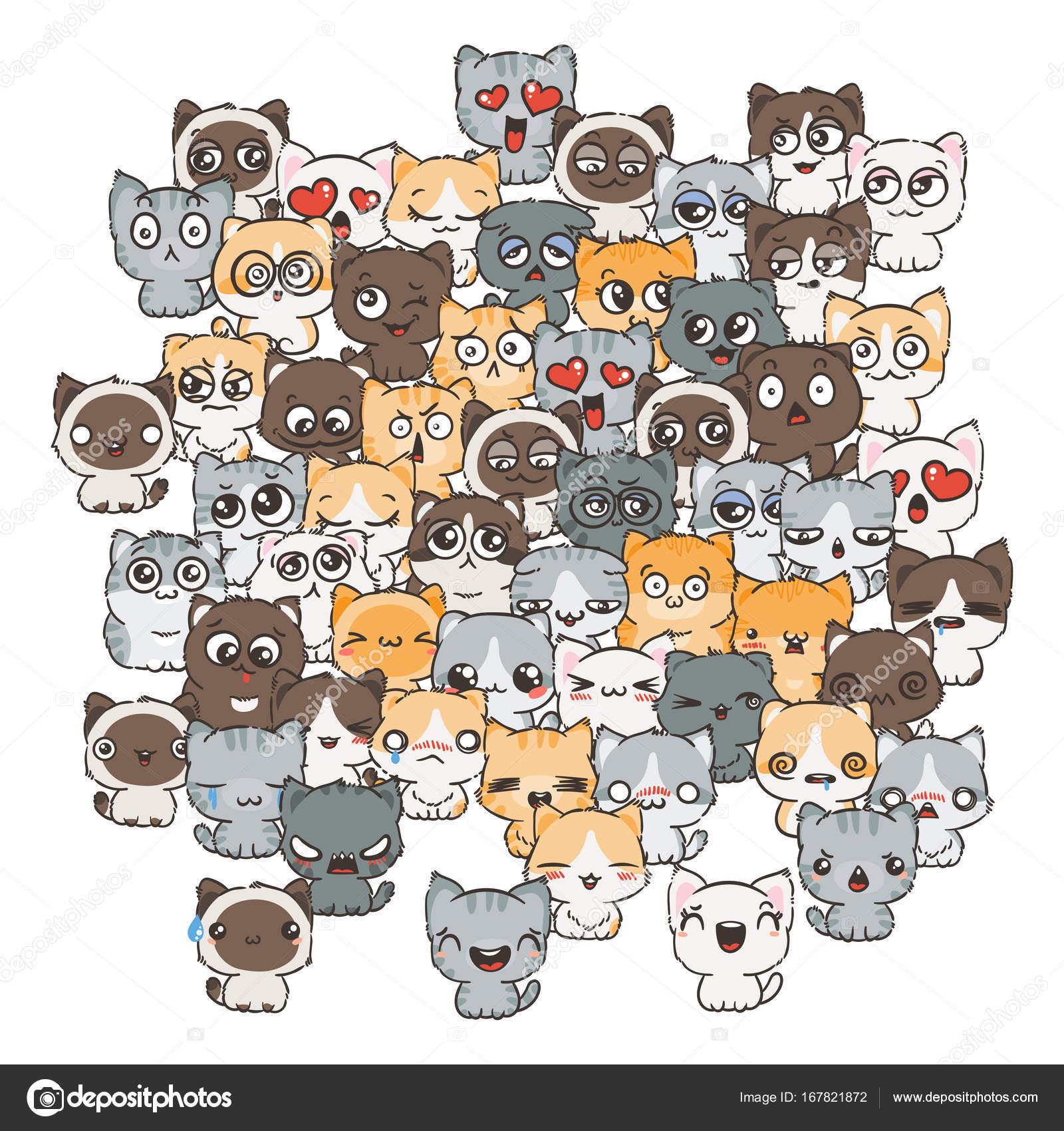 Perros y gatos lindos de la historieta — Archivo Imágenes ...