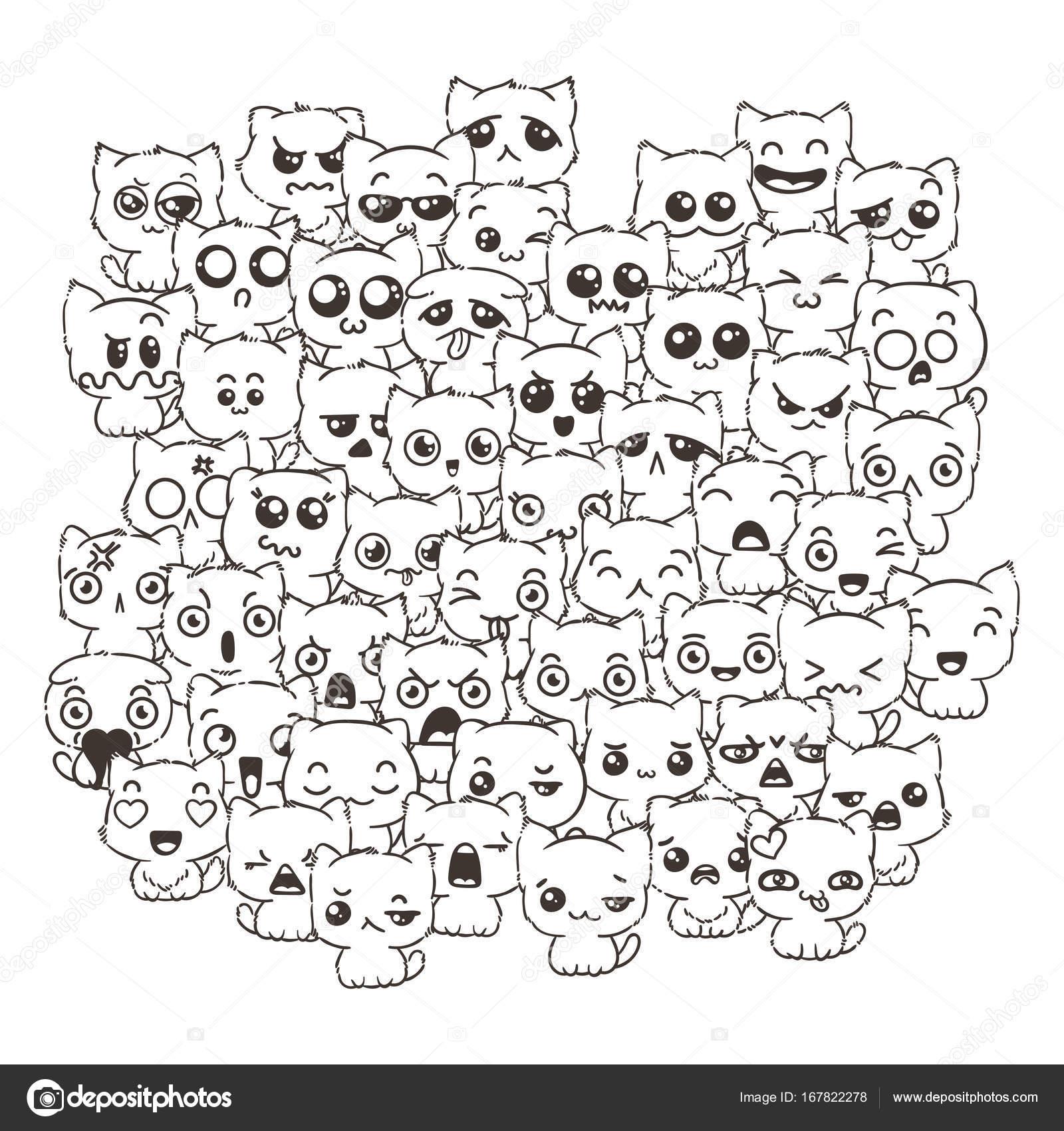 Imágenes Gatitos Para Colorear Kawaii Perros Y Gatos Lindos De La