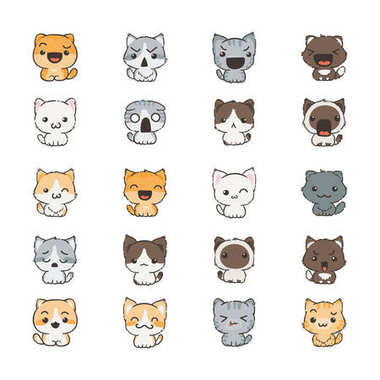 Cute cartoon cats and dogs