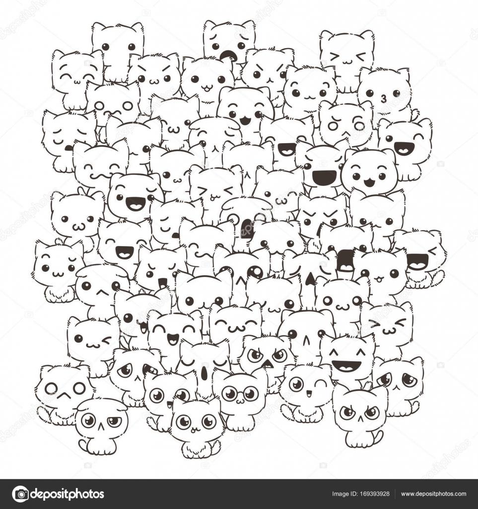 personajes de dibujos animados de perros y gatos lindos — Vector de ...
