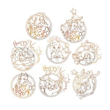 horoscope symbols of golden dog for New Year 2018, vector, illustration