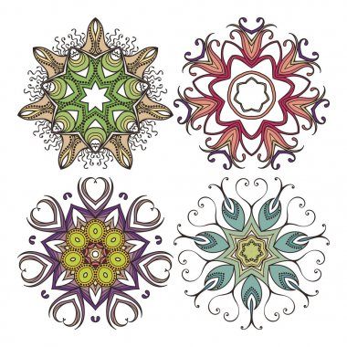 Set of ornate vector mandala symbols. Mehndi lace tattoo. Art Nouveau weave.