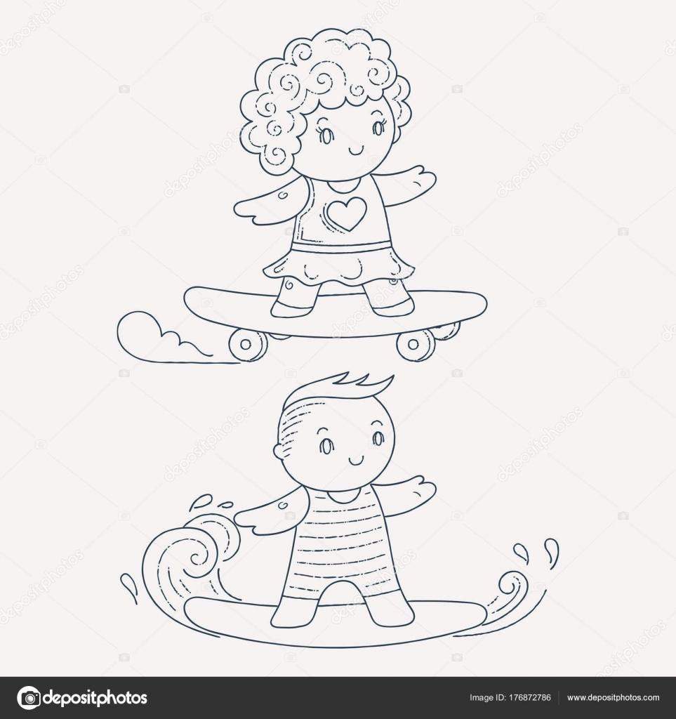 Illustration der Kinder auf einem Surfbrett und Skateboard ...