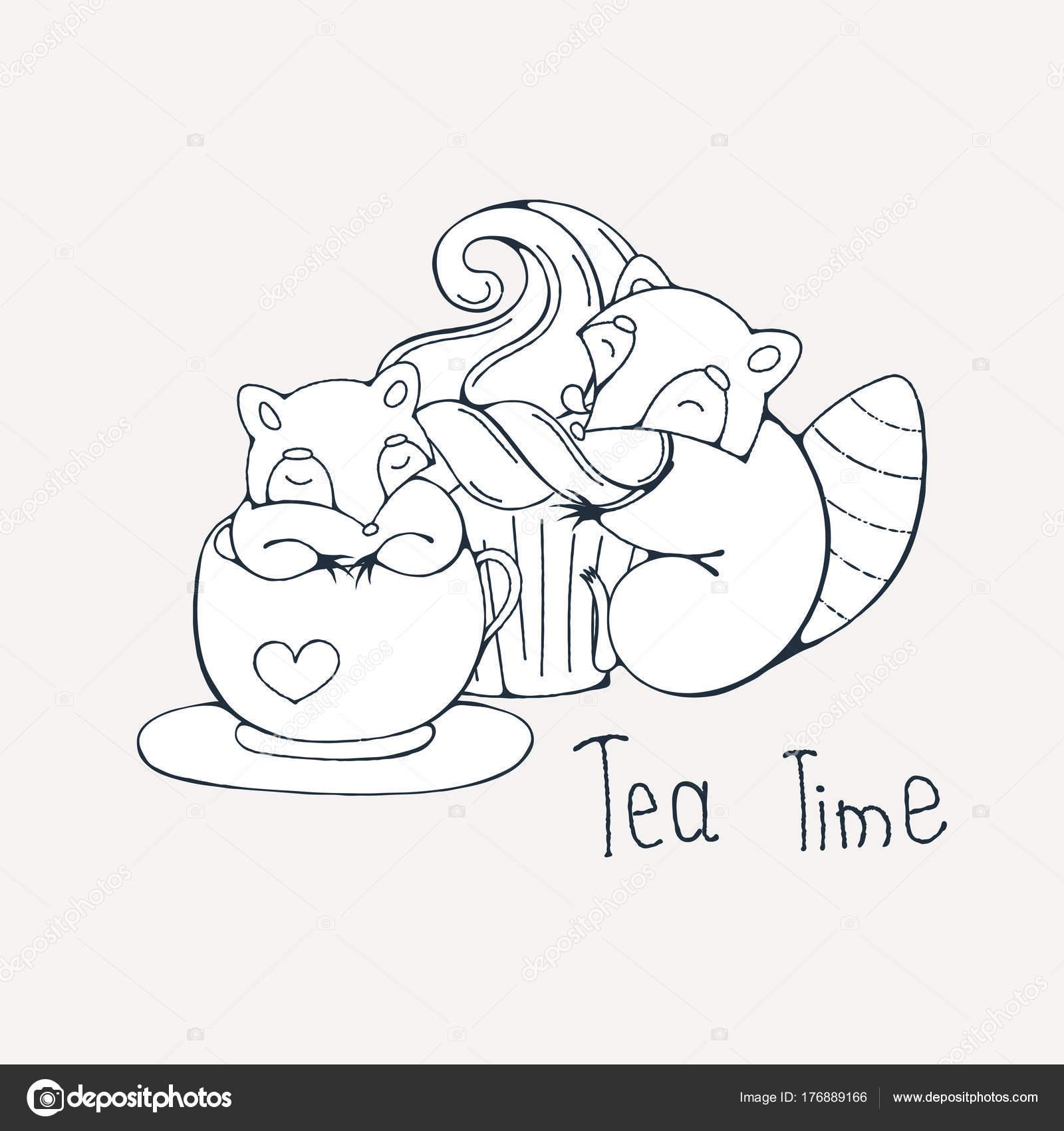 Abbildung mit niedlichen Waschbär in einer Tasse Tee oder Kaffee mit ...