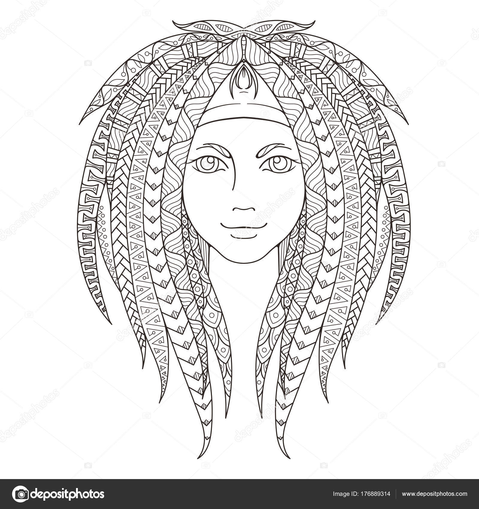 Young Girl With Patterned Zentangle Dreadlocks Page For Coloring