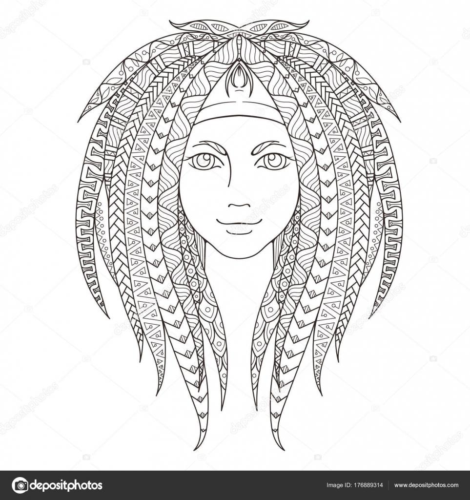 Genç Kız Desenli Zentangle Dreadlocks Ile Sayfa Boyama Süslü Saç