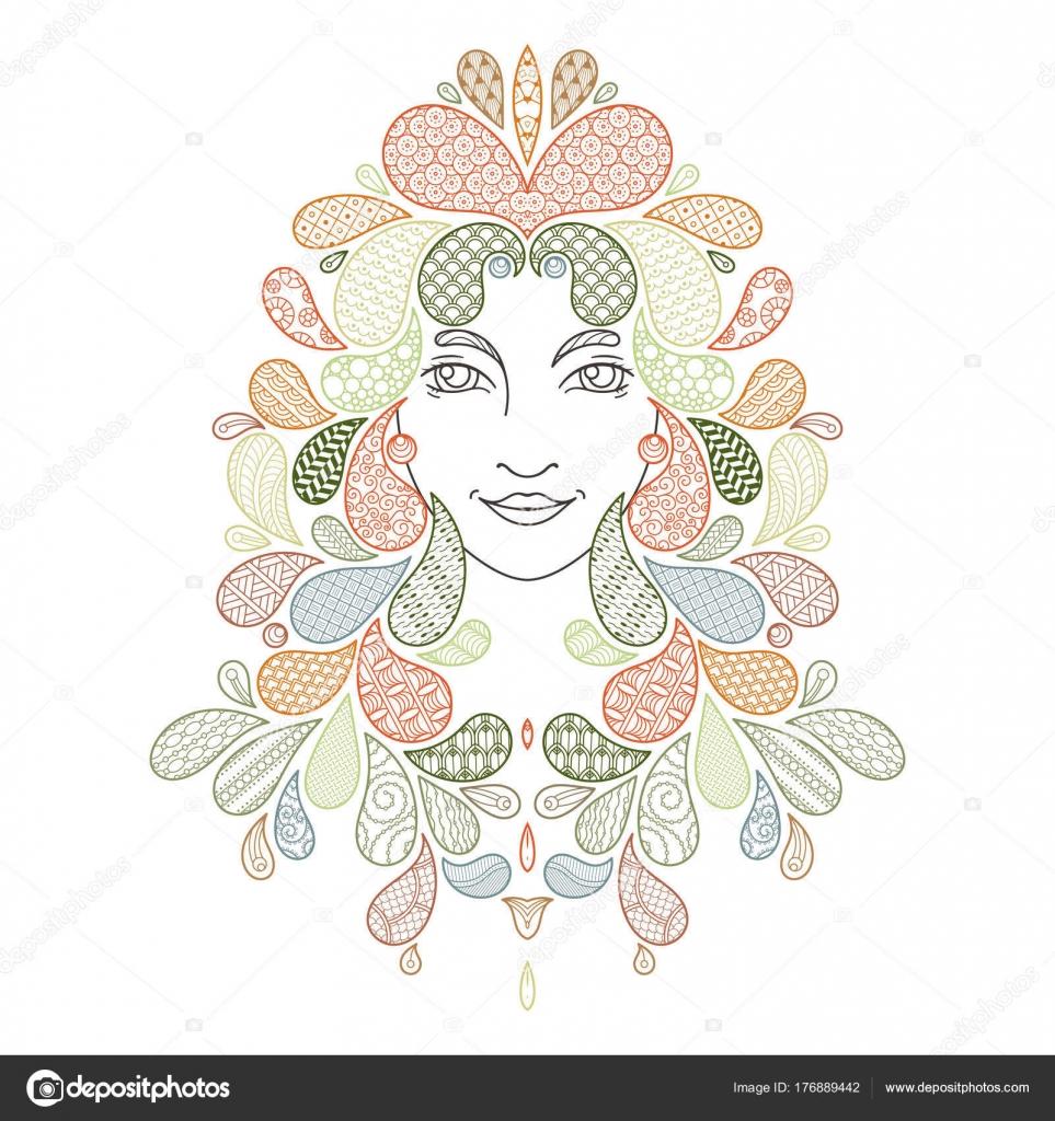 Für das Malbuch ausdrucken. Porträt eines schönen Mädchens mit ...
