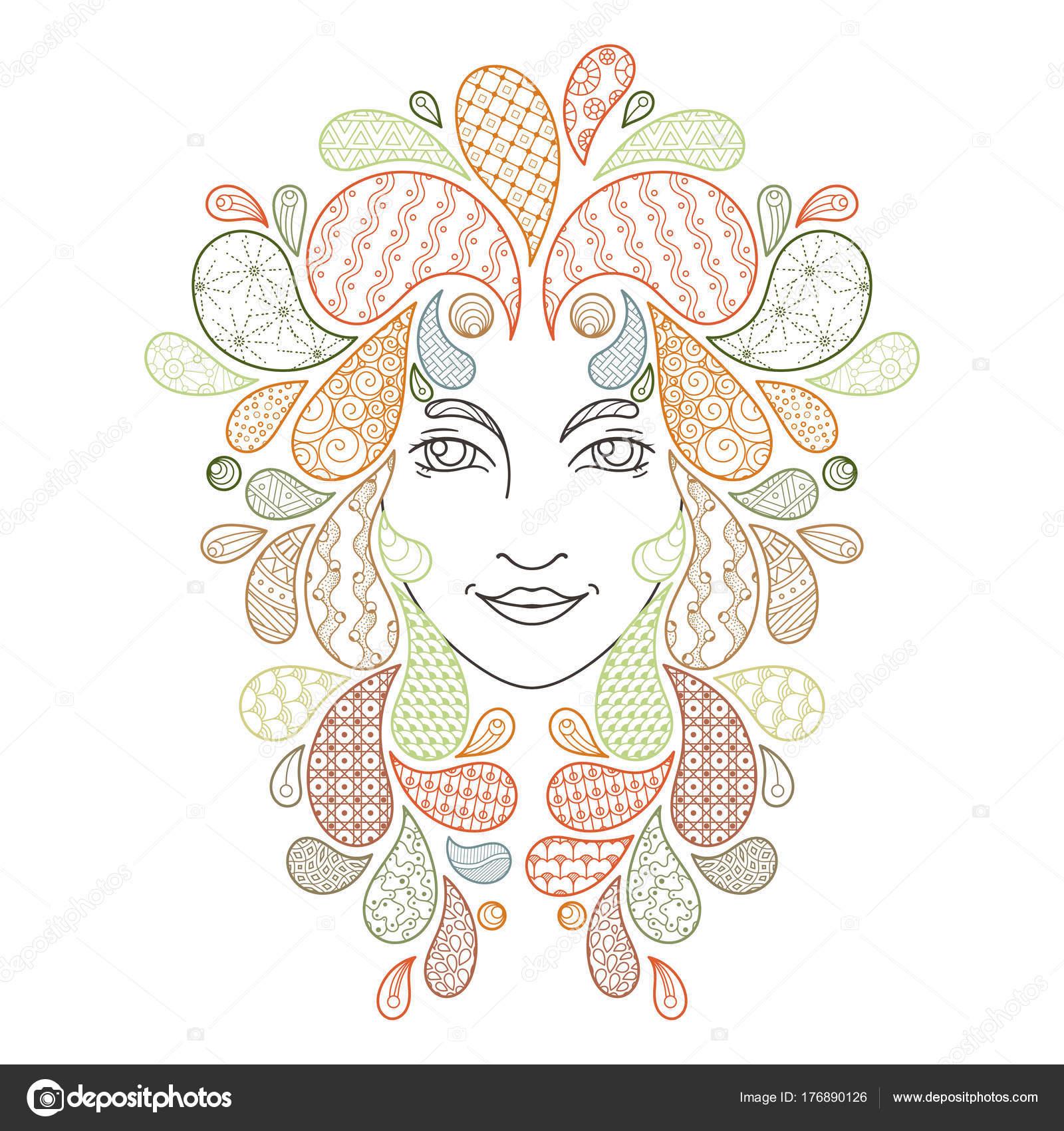 Imprimir el libro para colorear. Retrato de una hermosa chica con ...