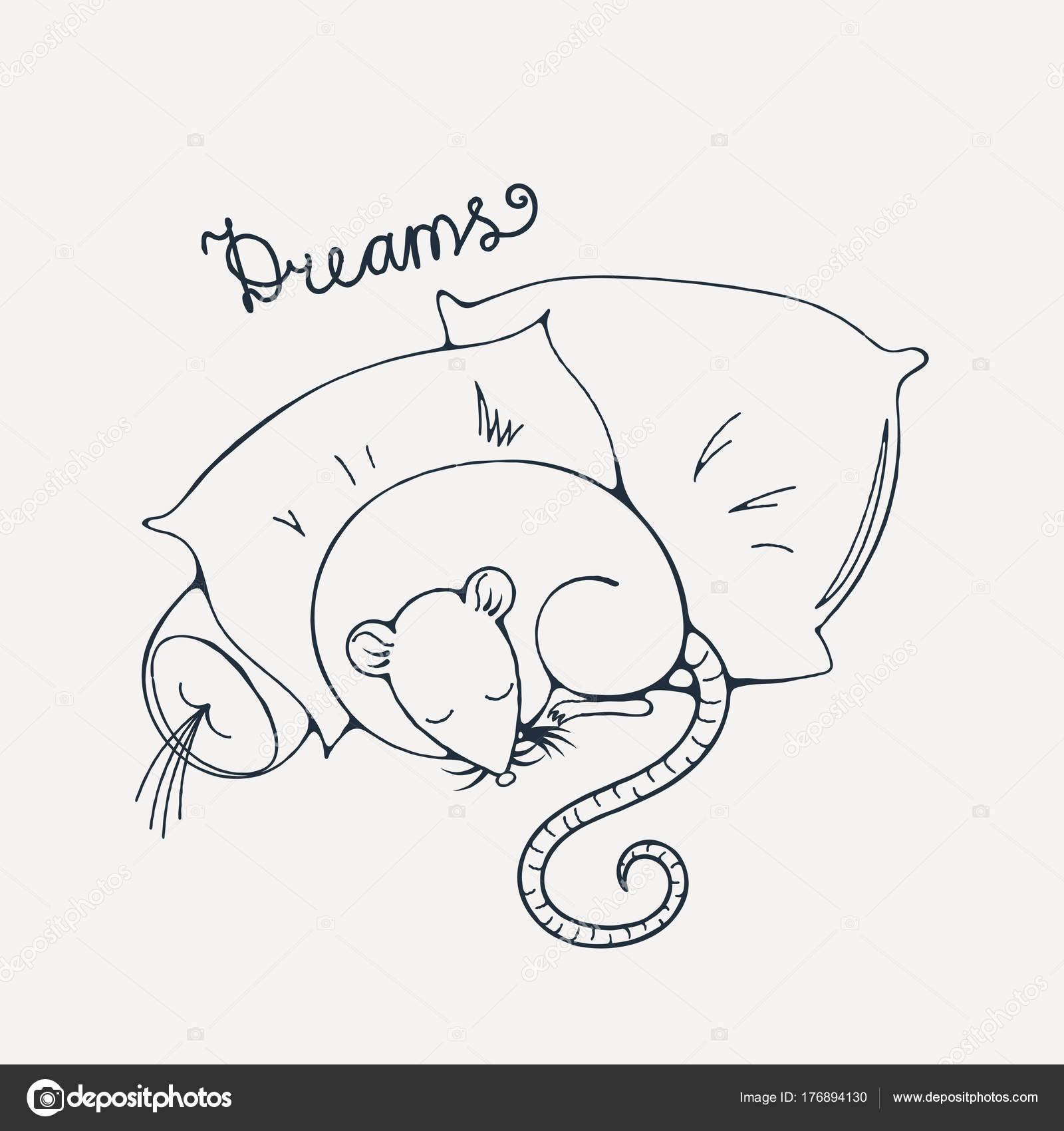 Ilustración con una rata alegre durmiendo en una almohadas. Página ...