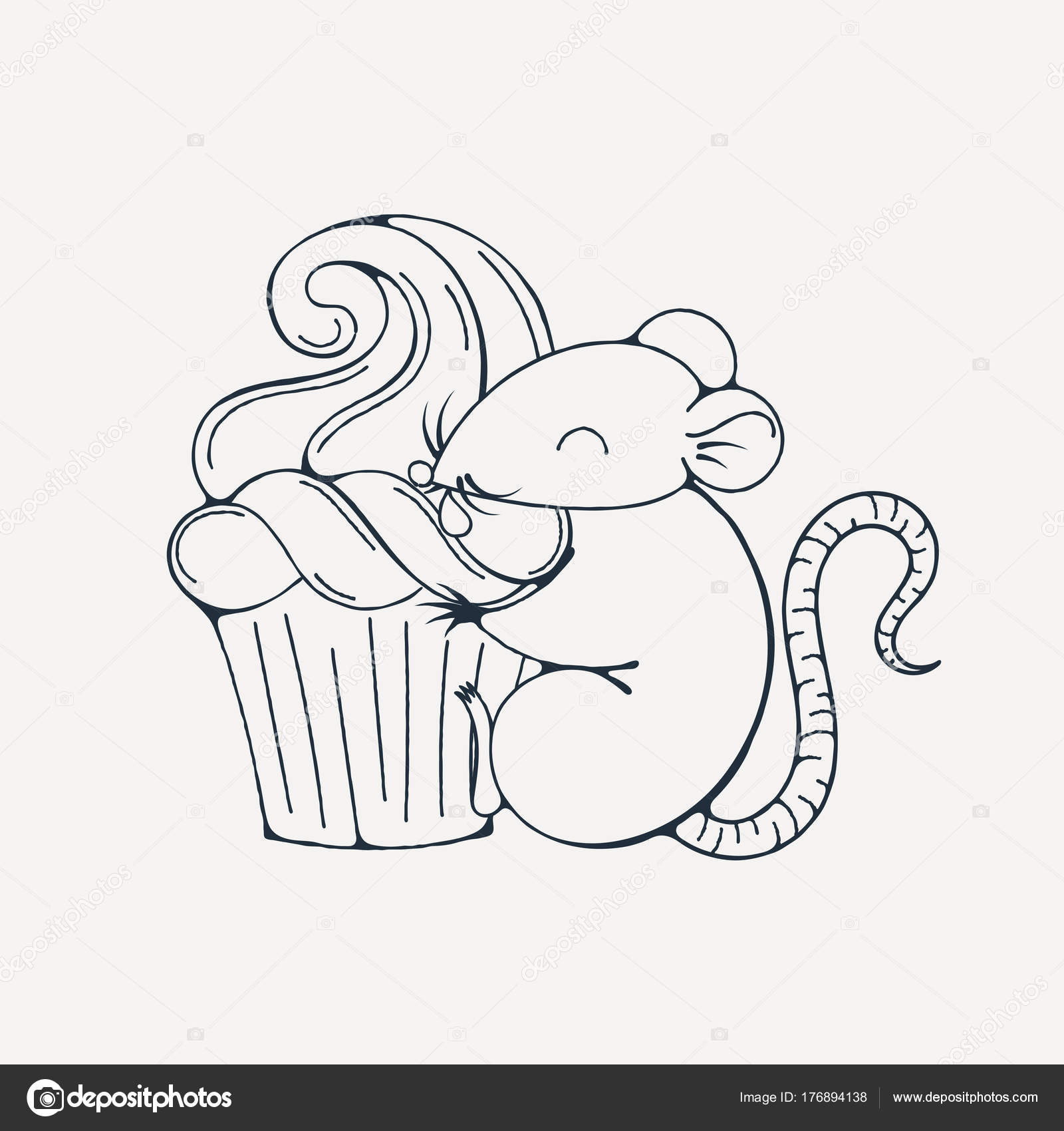 Illustration with cute rat with cupcakes. Coloring page. — Stock ...