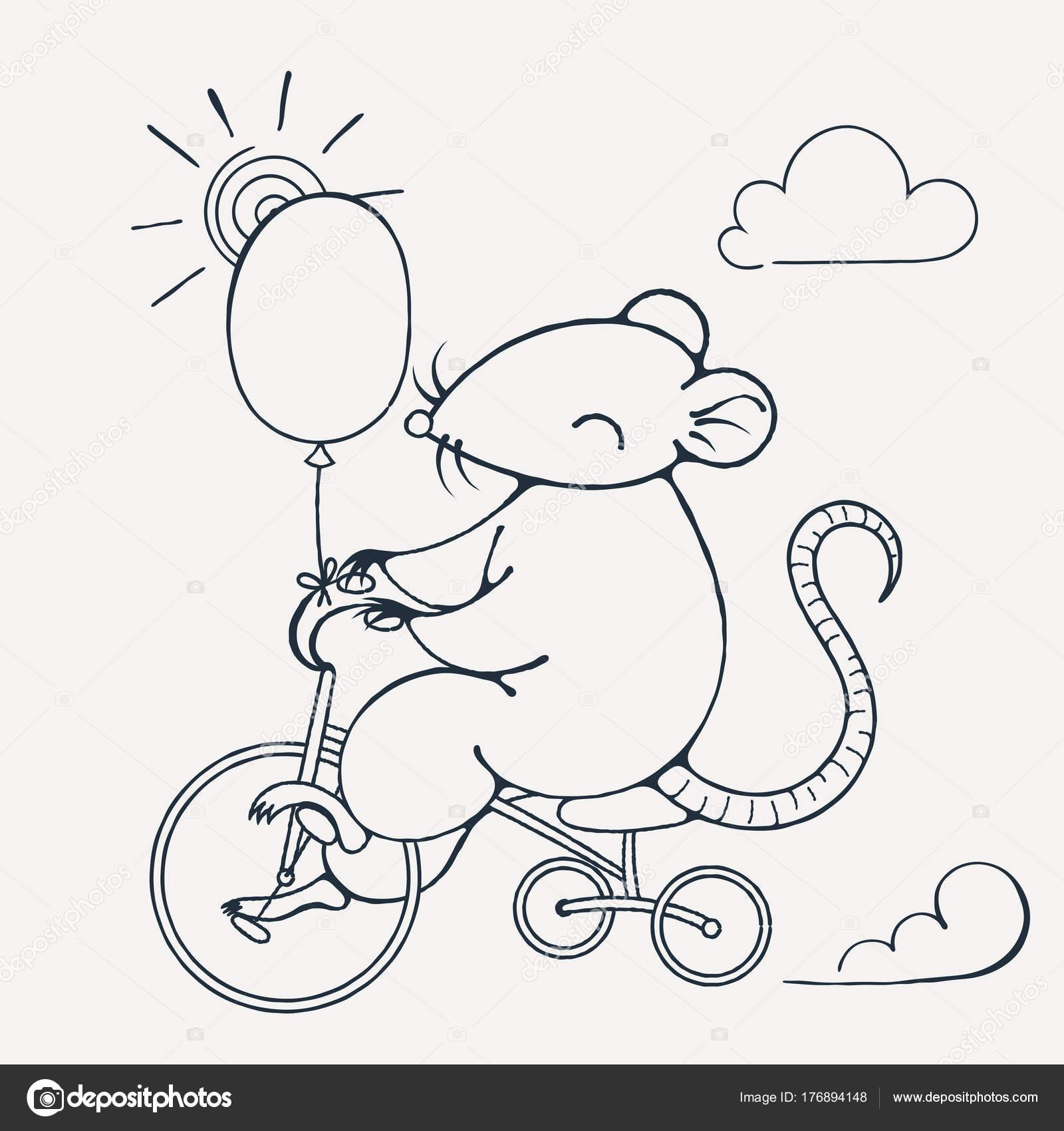 Abbildung mit einer fröhlichen Ratte auf einem Fahrrad mit Ballon ...