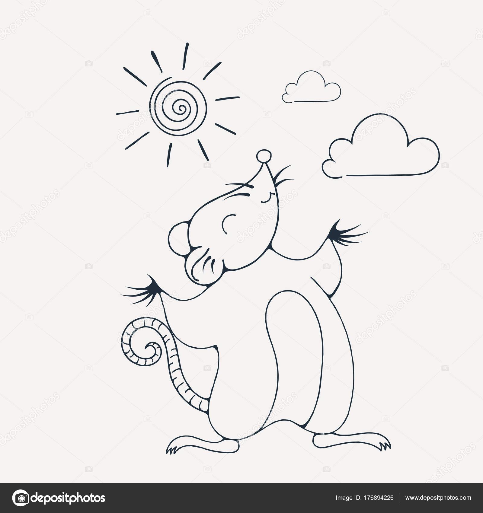 Ilustración con una rata alegre jugando bajo el sol. Página para ...